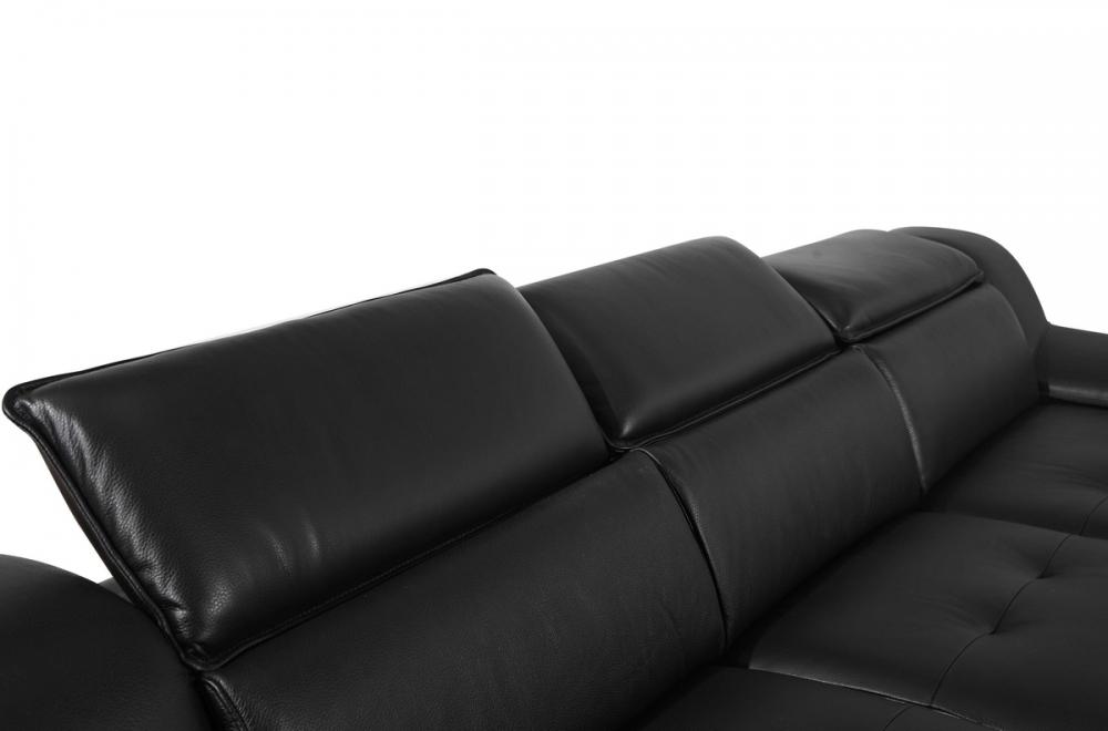 Canap d 39 angle en cuir italien 5 places liberty noir for Canape cuir italien