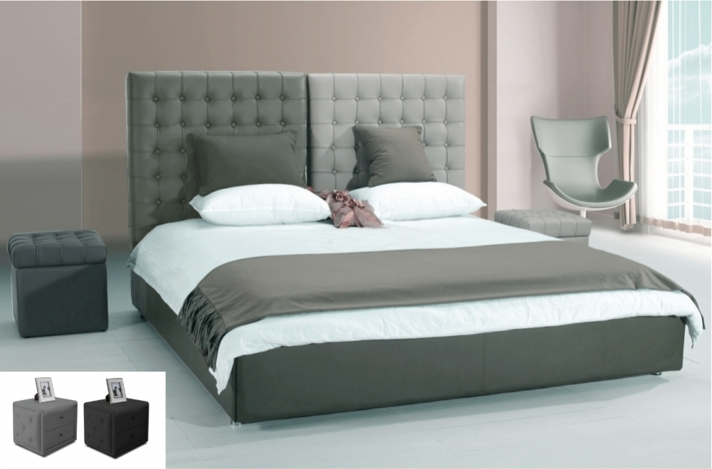 lit en cuir italien de luxe duo gris clair et gris fonc. Black Bedroom Furniture Sets. Home Design Ideas