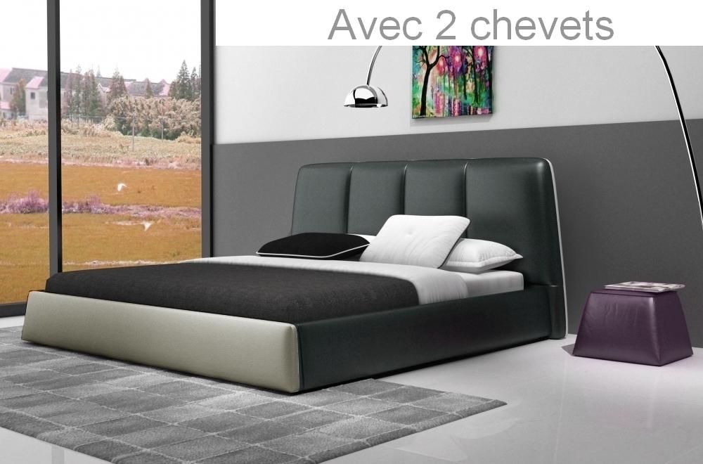 Lit design en cuir italien de luxe verdi gris fonc et - Lit design italien avec sommier inclus ...