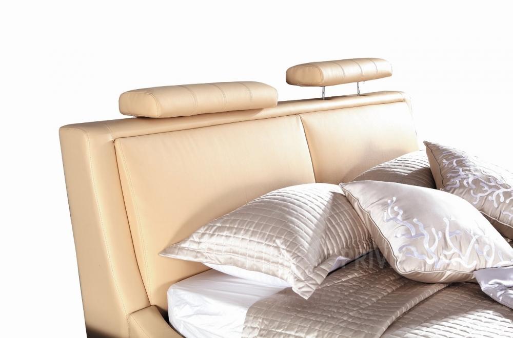 lit en cuir italien de luxe livourne 180x200 beige mobilier priv. Black Bedroom Furniture Sets. Home Design Ideas