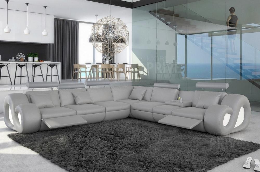 canap d 39 angle en cuir italien 7 places love gris clair mobilier priv. Black Bedroom Furniture Sets. Home Design Ideas