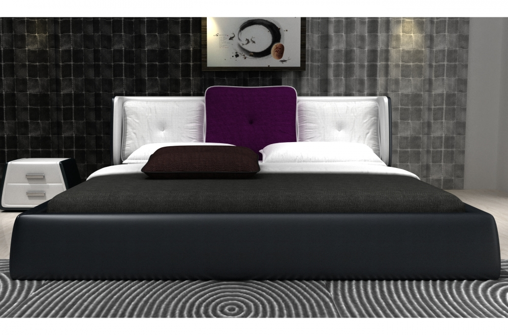 lit design en cuir italien de luxe luna noir et blanc. Black Bedroom Furniture Sets. Home Design Ideas