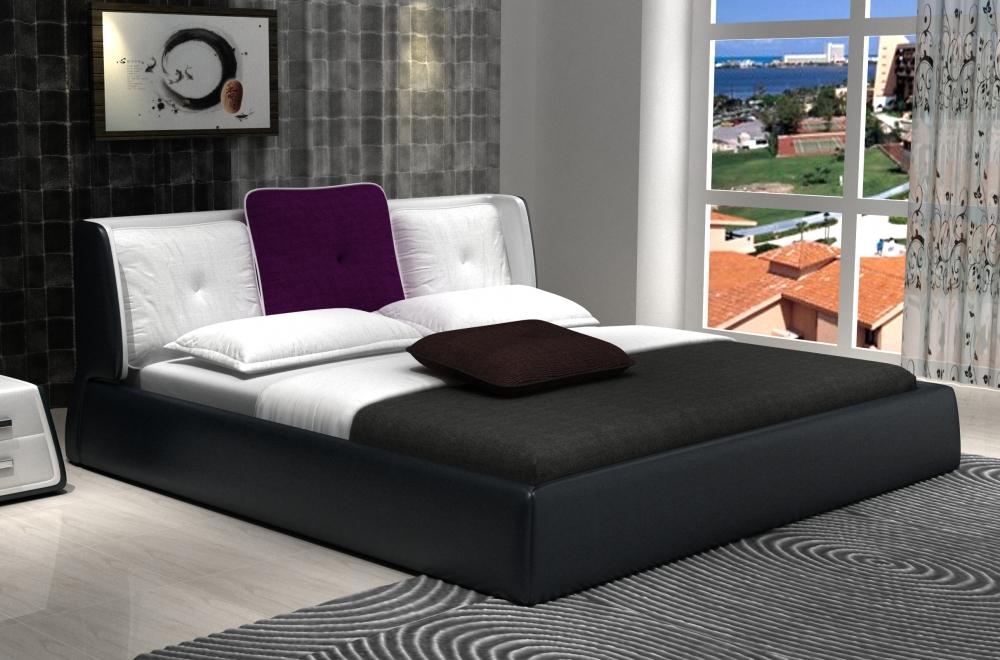 lit design en cuir italien de luxe luna noir et blanc mobilier priv. Black Bedroom Furniture Sets. Home Design Ideas