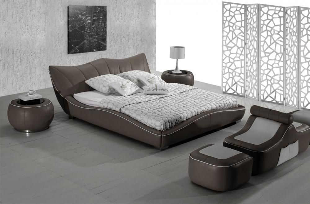 lit en cuir italien de luxe luxen gris fonc mobilier priv. Black Bedroom Furniture Sets. Home Design Ideas