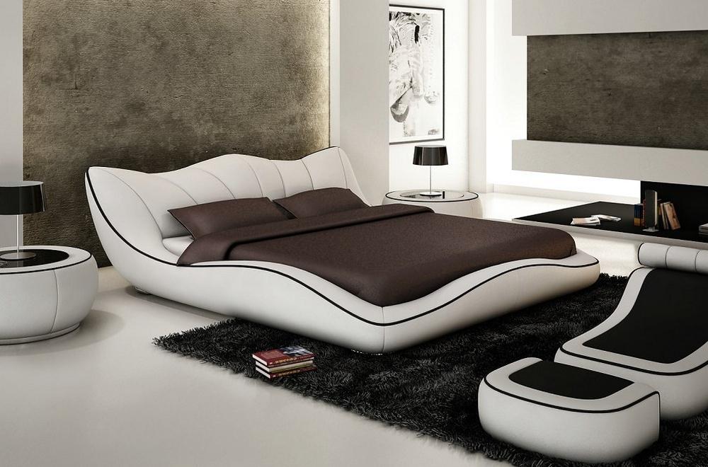 Lit en cuir italien de luxe luxen blanc mobilier priv for Mobilier contemporain luxe