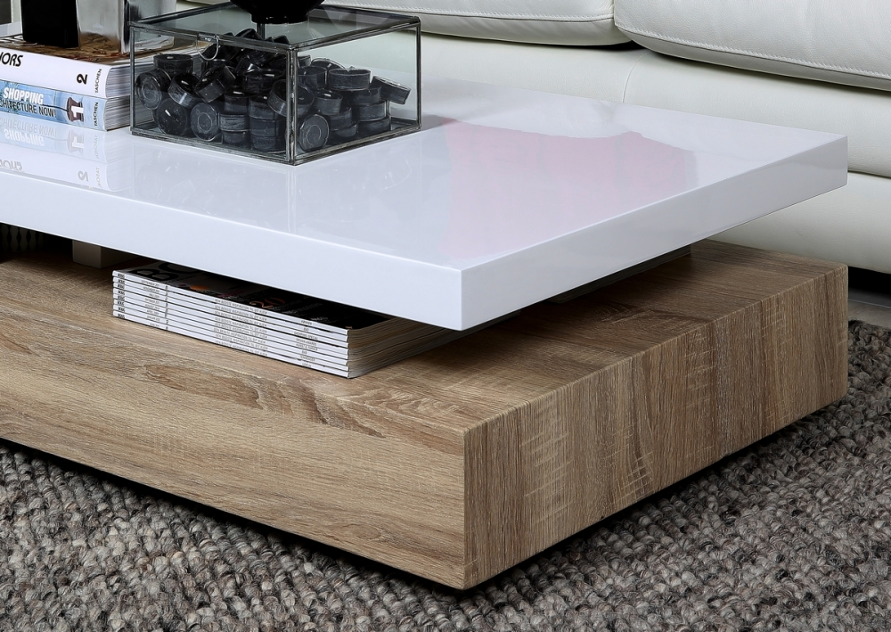 Table basse design dessus en bois laqu blanc martens for Table basse bois design