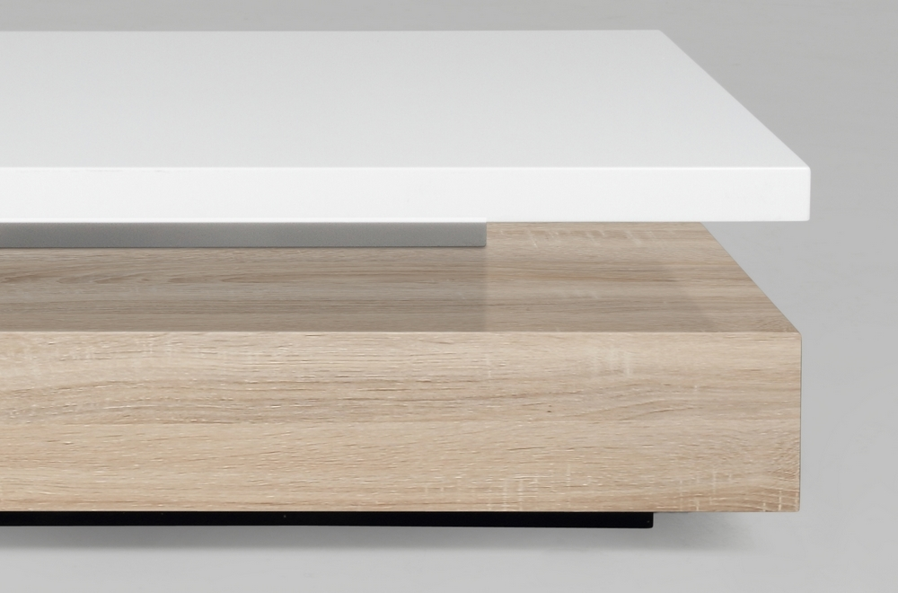 Table basse design dessus en bois laqu blanc martens - Table basse rectangulaire design ...