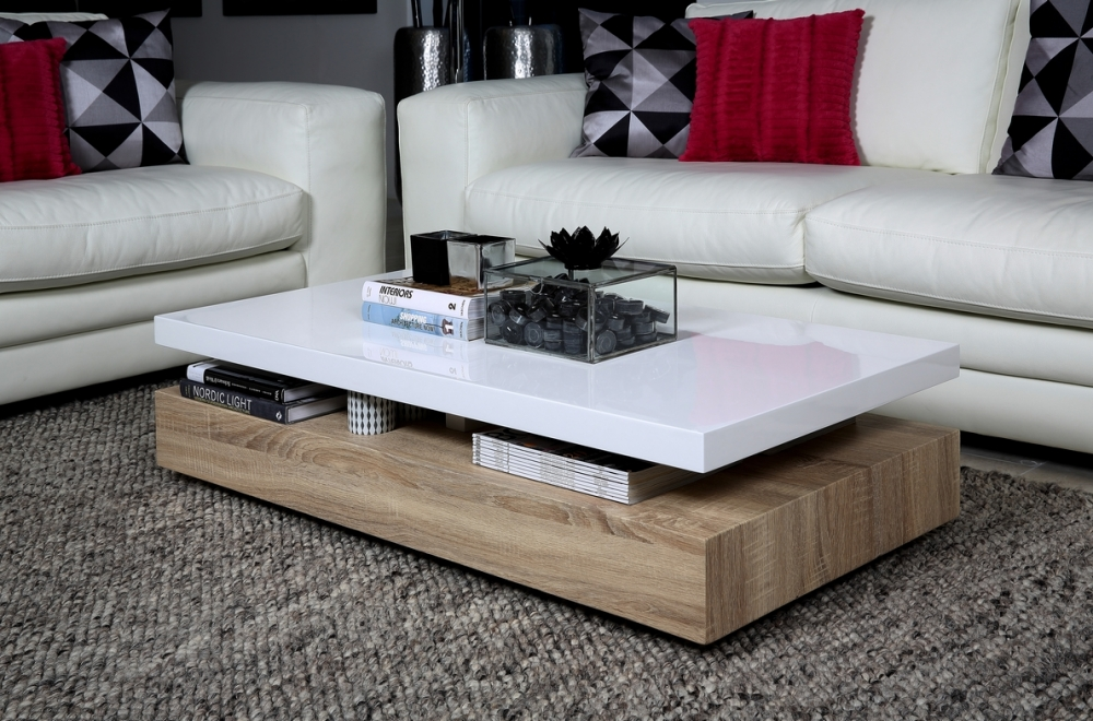 Table basse design dessus en bois laqu blanc martens - Table basse design blanc ...