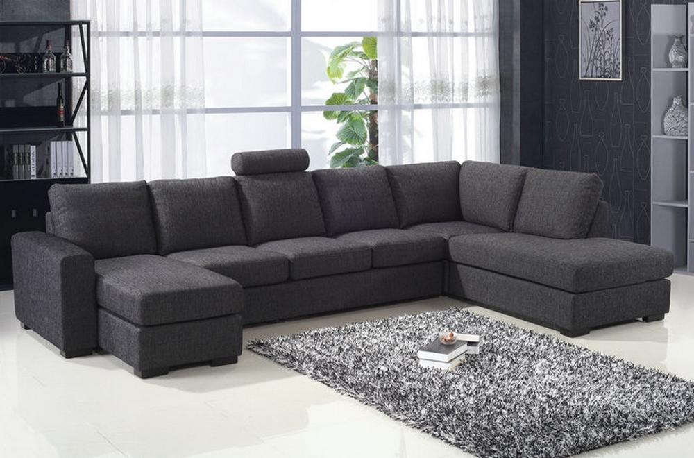 canap d 39 angle en tissu de qualit miami gris fonc angle droit mobilier priv. Black Bedroom Furniture Sets. Home Design Ideas