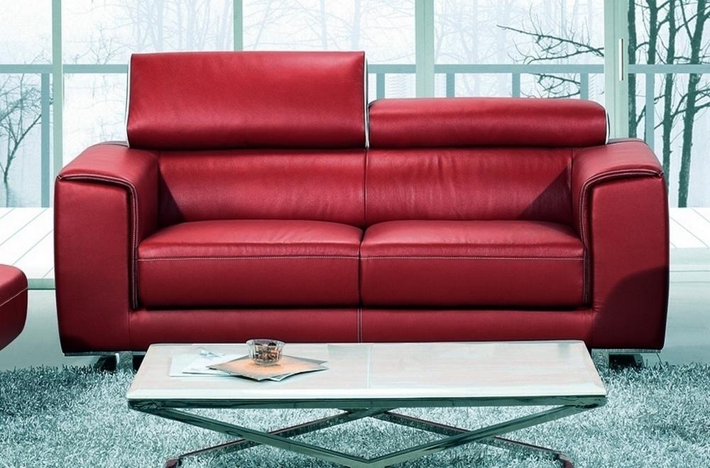 Canapé 2 places en cuir italien buffle MILANO, bordeaux avec liseret blanc