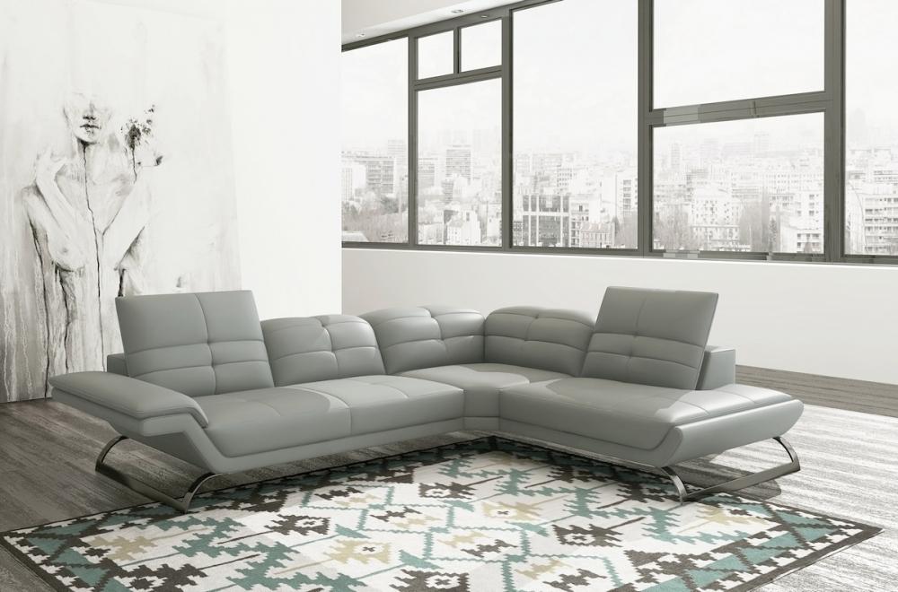canapé d angle en 100% tout cuir italien 5 places moderni, gris clair 045a4e77d820