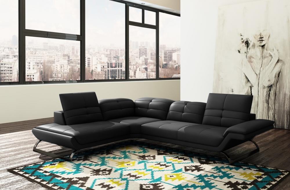 Canapé d'angle en cuir italien 5 places MODERNI, noir