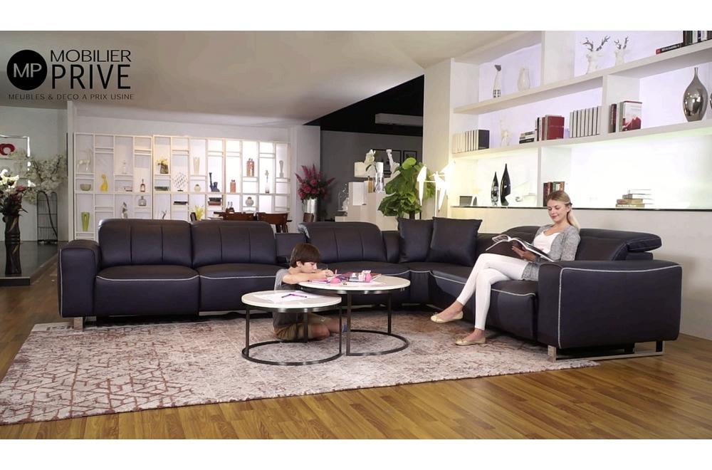 Canapé d'angle relax en cuir de buffle italien de luxe double relax électrique, 7/8 places, MONTE CARLO, couleur noir, angle droit, 1 POUF OFFERT