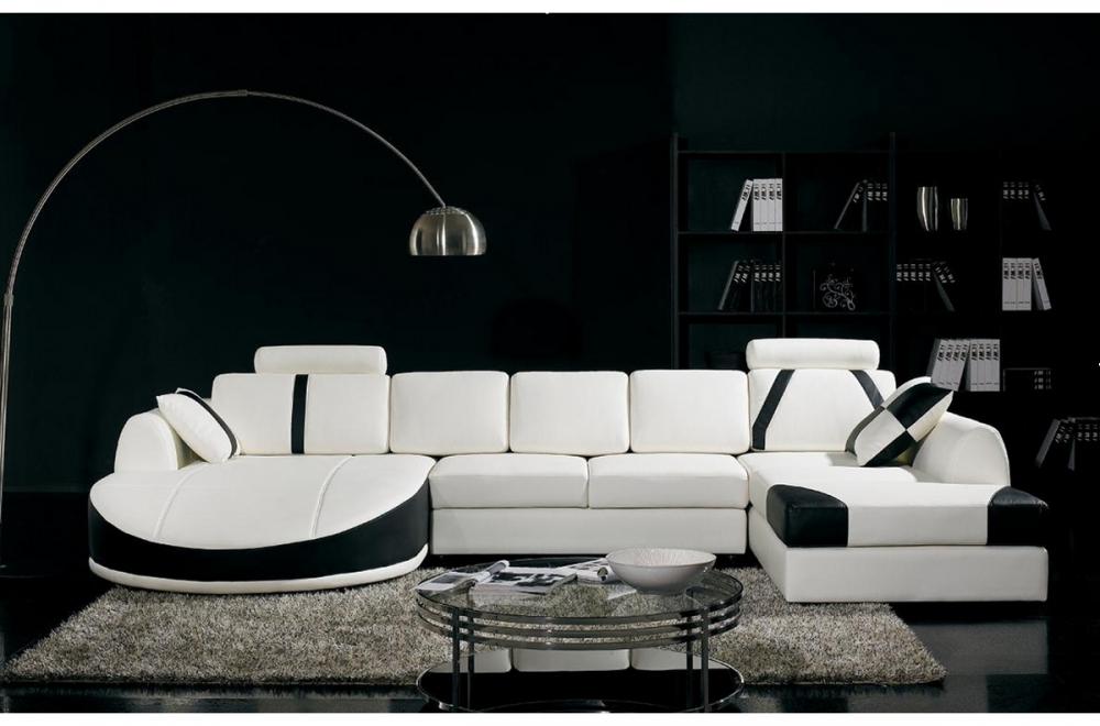 Canap d 39 angle en cuir italien 7 8 places oscar naples Canape cuir noir et blanc