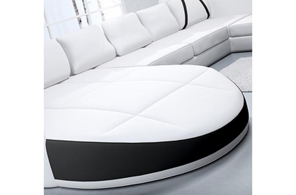 canap d 39 angle en cuir italien 7 8 places naples blanc et noir mobilier priv. Black Bedroom Furniture Sets. Home Design Ideas