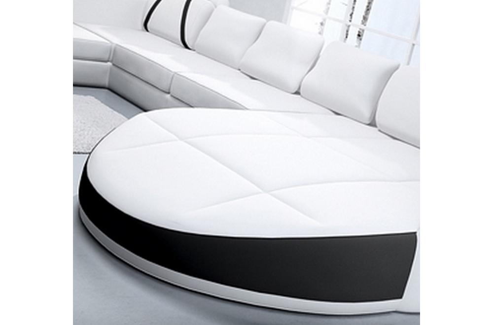 canap d 39 angle en cuir italien 7 8 places oscar naples blanc et noir mobilier priv. Black Bedroom Furniture Sets. Home Design Ideas