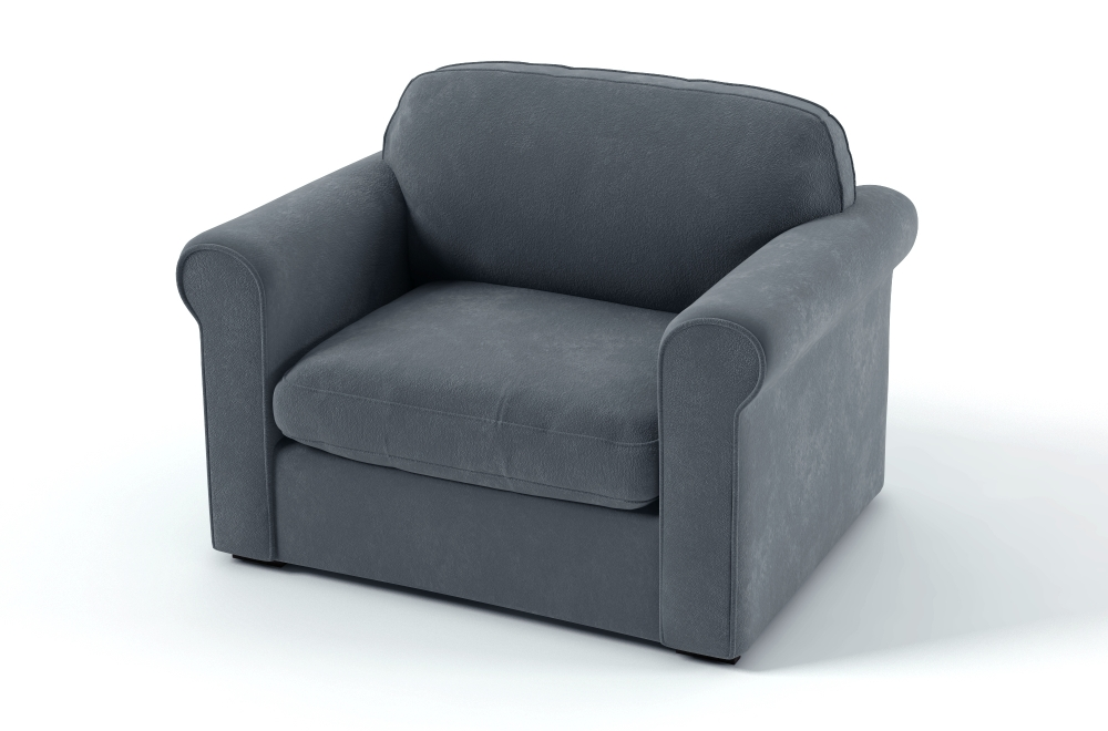 fauteuil 1 place en tissu de qualit nikos gris bleu. Black Bedroom Furniture Sets. Home Design Ideas