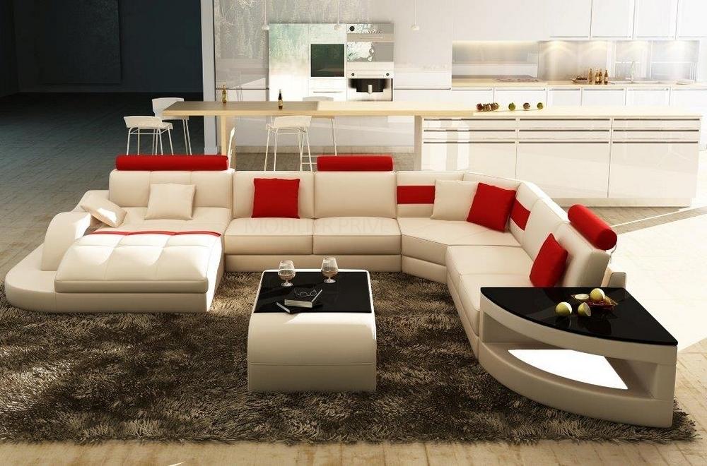 canap d 39 angle en cuir italien 8 places nordik blanc et. Black Bedroom Furniture Sets. Home Design Ideas