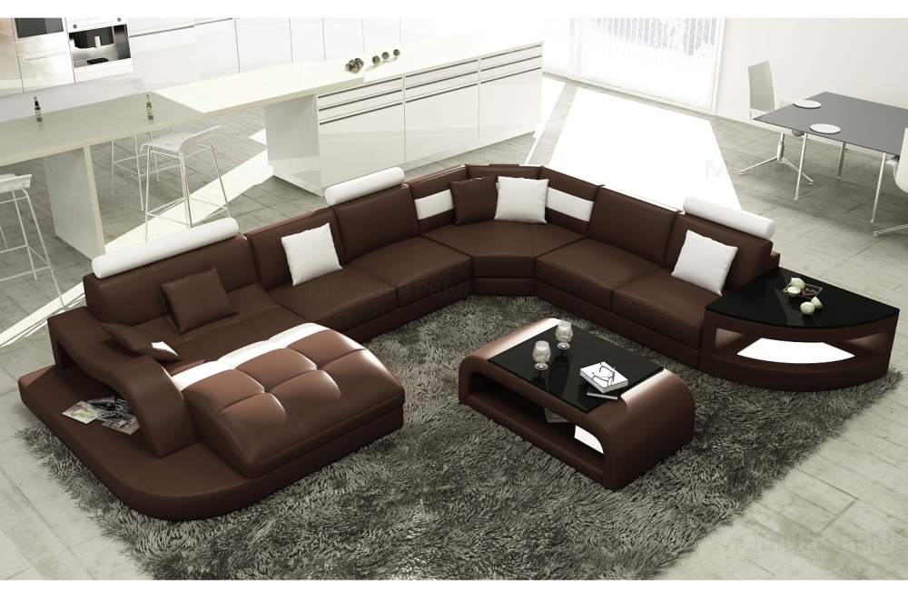 canap d 39 angle en cuir italien 8 places nordik chocolat. Black Bedroom Furniture Sets. Home Design Ideas
