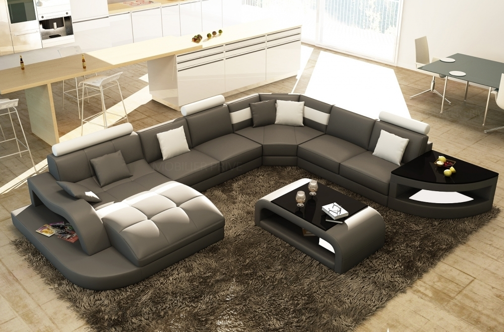 Canapé d'angle en cuir italien 8 places NORDIK, gris foncé et blanc, angle droit et méridienne à gauche