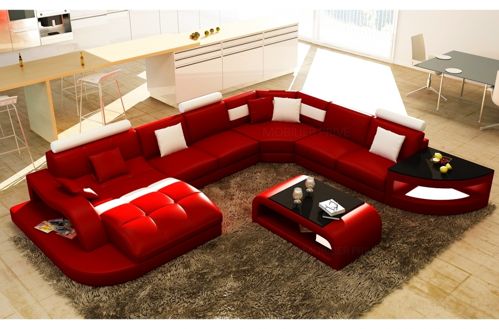 Canap d 39 angle en cuir italien 8 places nordik table offerte rouge et b - Canape angle cuir rouge ...