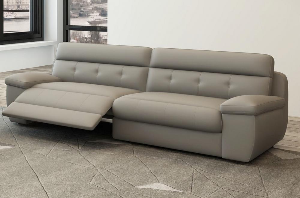 Canapé 3 places relaxation en cuir italien olsen gris clair
