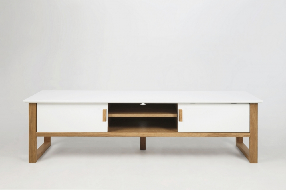 Meuble Tv Design Bois Laqué Blanc Oslo