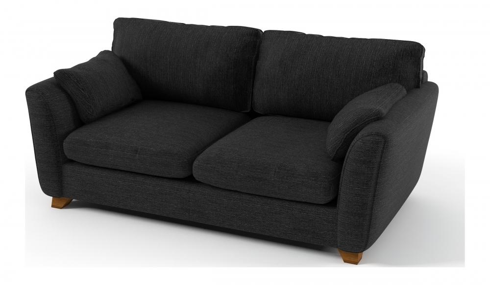 canap 3 places en tissu de qualit panama noir mobilier priv. Black Bedroom Furniture Sets. Home Design Ideas
