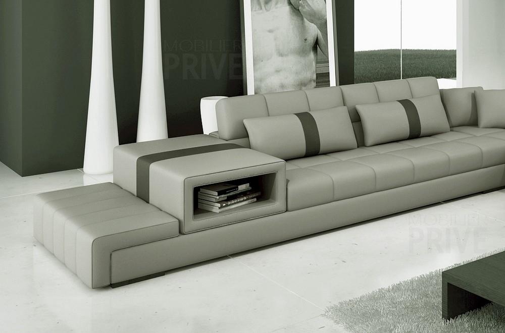 canap d 39 angle en cuir italien 6 7 places passion gris clair gris fonc mobilier priv. Black Bedroom Furniture Sets. Home Design Ideas
