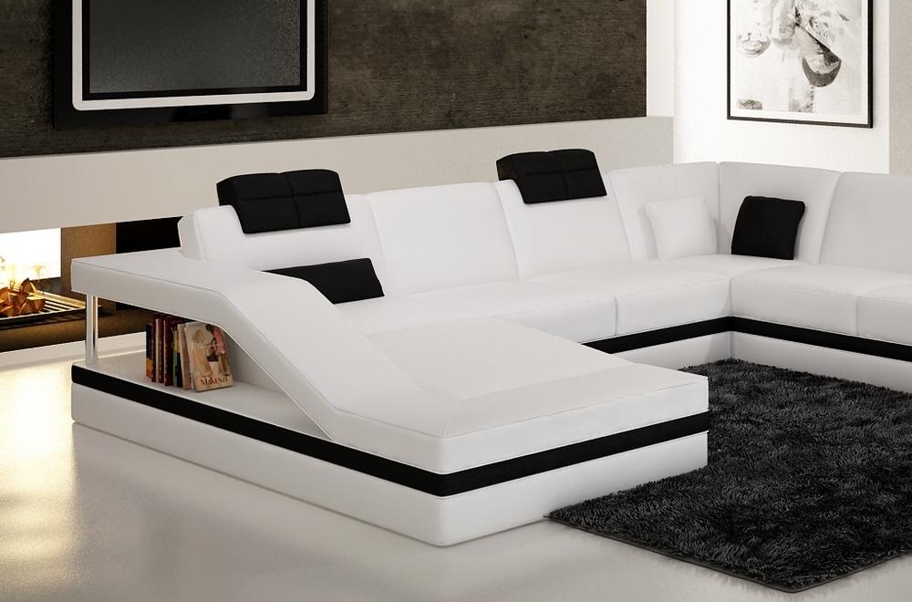 canap d 39 angle en cuir italien 8 places perfect blanc et noir mobilier priv. Black Bedroom Furniture Sets. Home Design Ideas