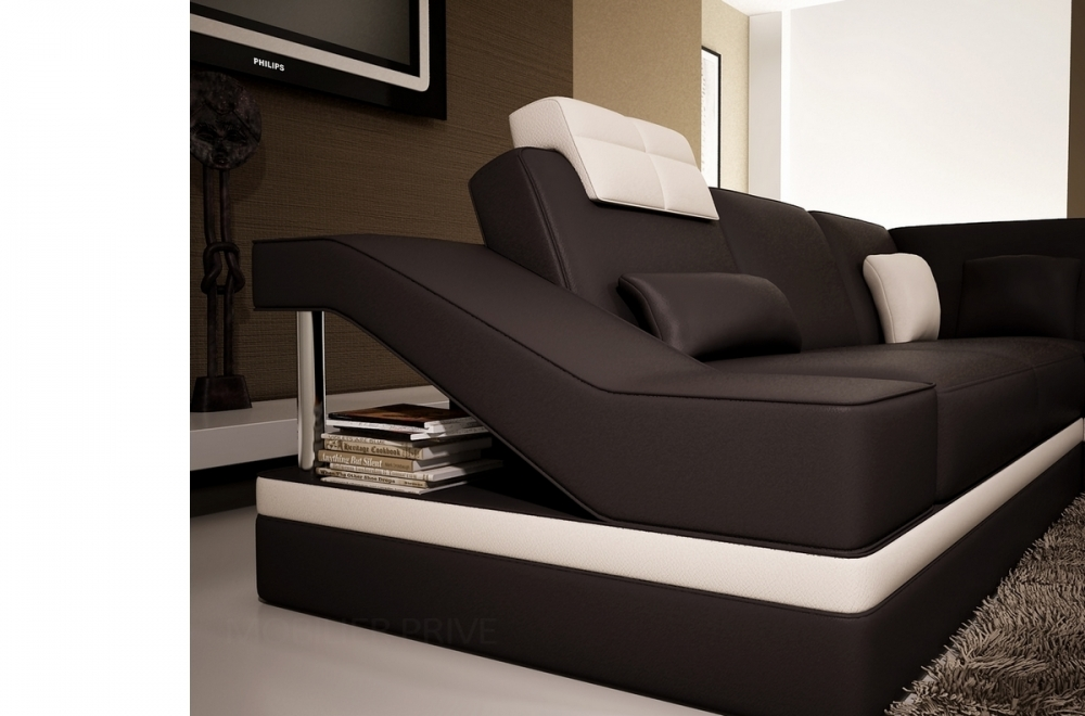 Canap d 39 angle en cuir italien 8 places perfect chocolat for Canape cuir italien