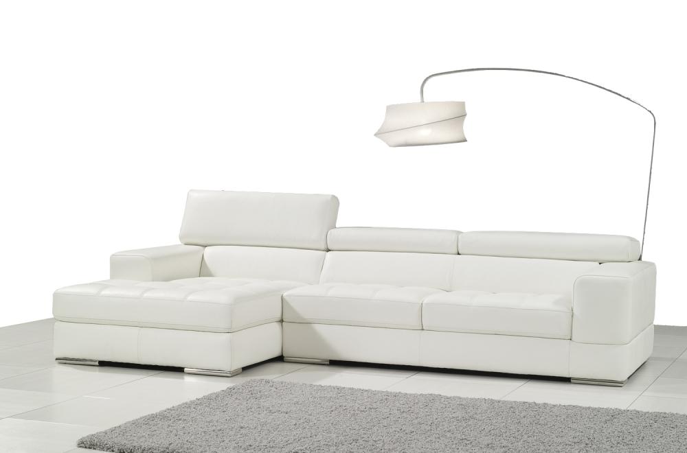 Canap d 39 angle en cuir italien 5 places perle blanc mobilier priv - Canape angle cuir italien ...