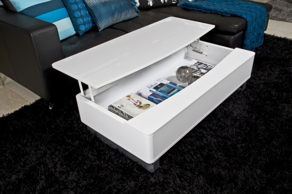 table basse design r glable en bois laqu blanc perma. Black Bedroom Furniture Sets. Home Design Ideas