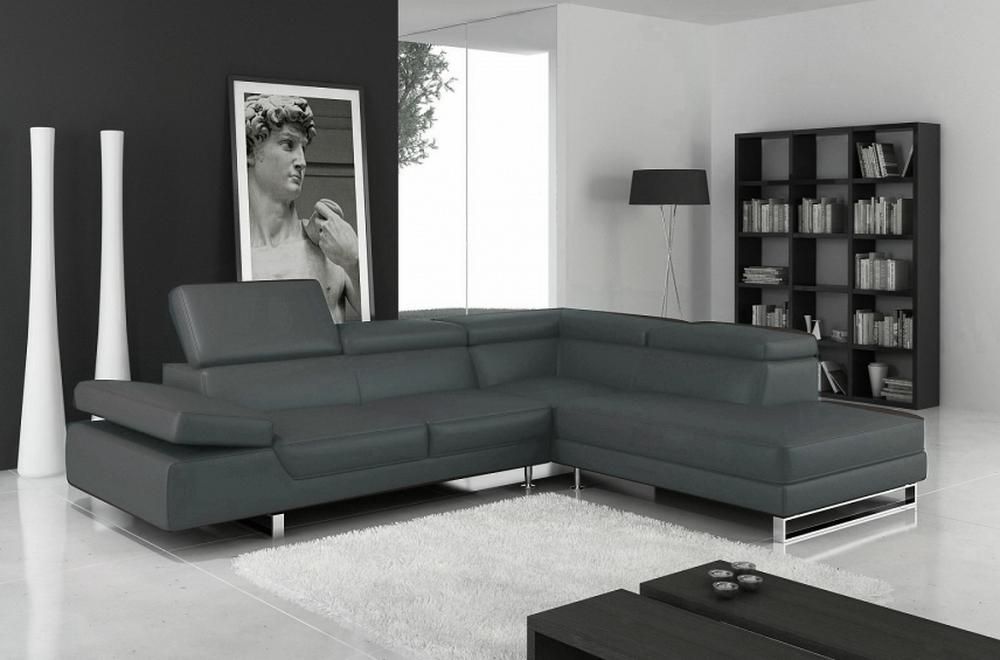 Canapé d'angle en cuir italien 5/6 places Petit GEORGE, gris foncé, angle droit