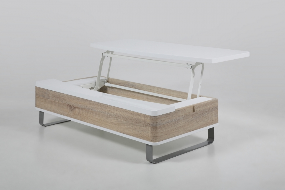 Table basse design r glable en bois laqu brillant blanc for Table en bois et banc
