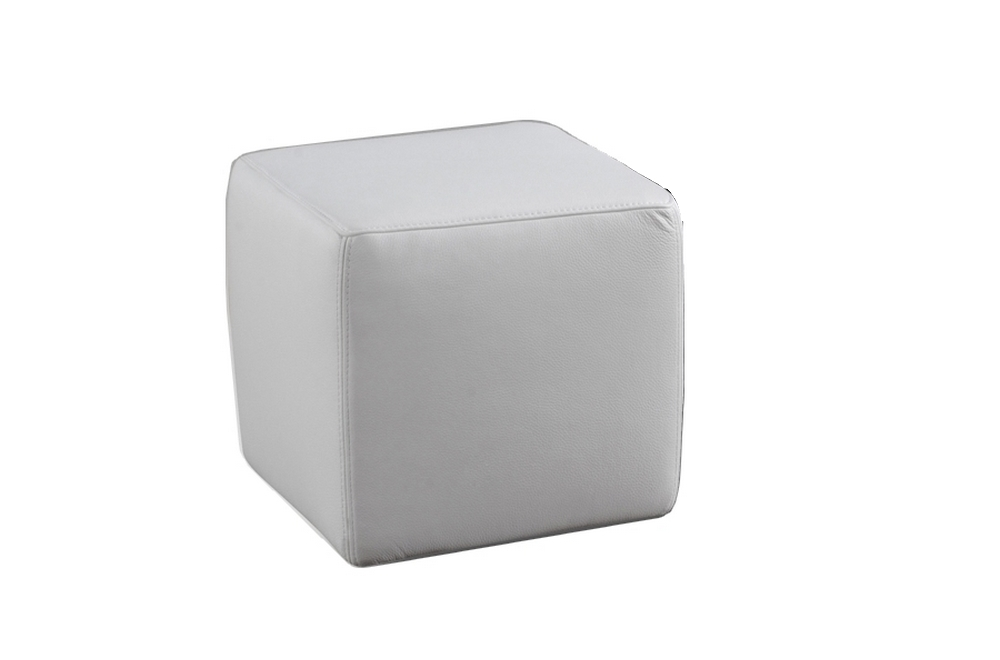 un pouf carr en cuir blanc mobilier priv. Black Bedroom Furniture Sets. Home Design Ideas