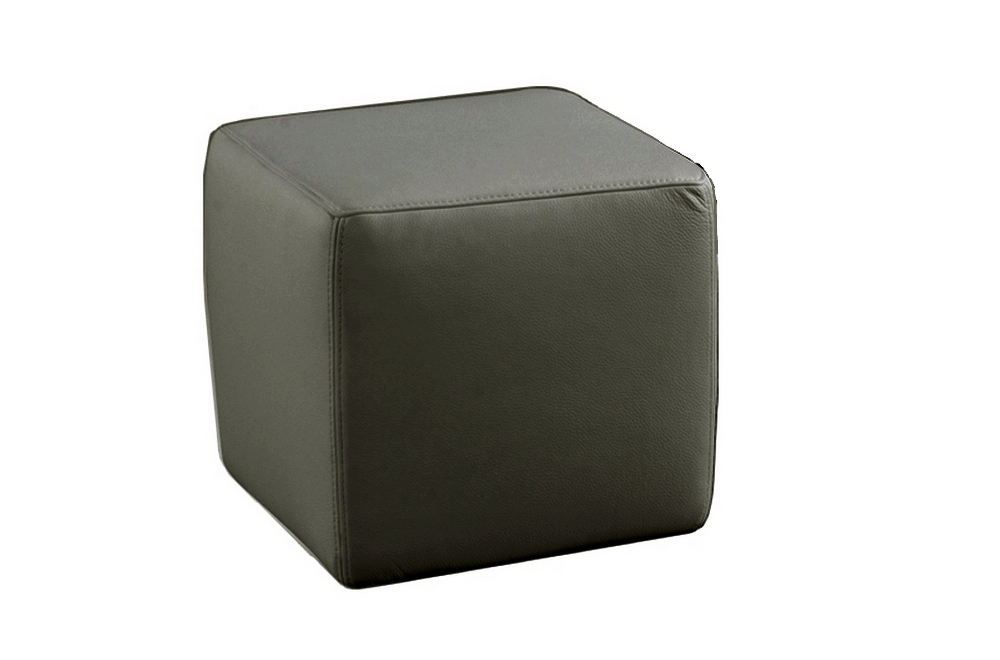 un pouf carr en cuir gris fonc mobilier priv. Black Bedroom Furniture Sets. Home Design Ideas