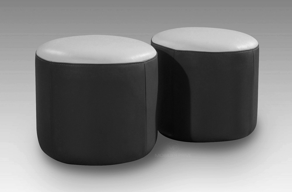 ensemble de 2 poufs rond en cuir noir et blanc mobilier priv. Black Bedroom Furniture Sets. Home Design Ideas