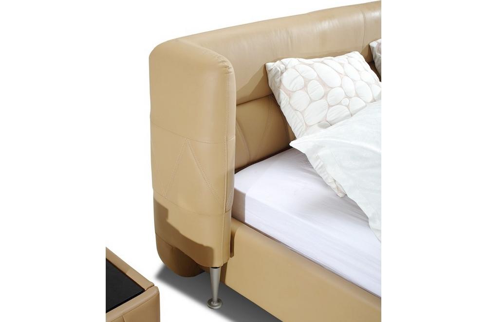 Lit design en cuir italien de luxe prima beige mobilier priv - Lit cuir design italien ...