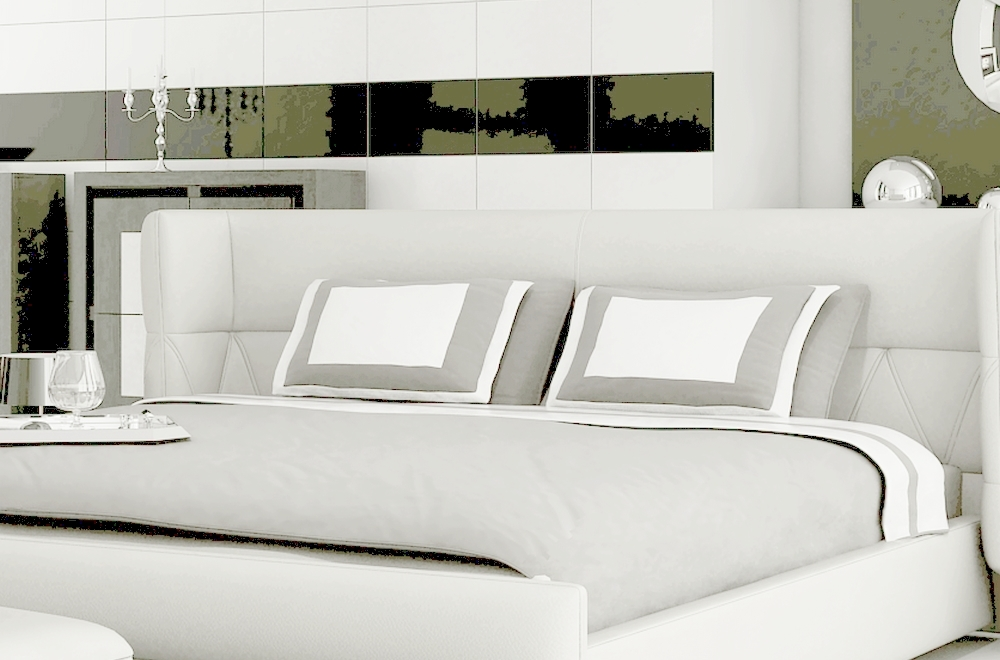 lit design en cuir italien de luxe prima blanc mobilier priv. Black Bedroom Furniture Sets. Home Design Ideas