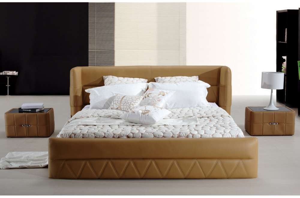 lit design en cuir italien de luxe prima marron mobilier priv. Black Bedroom Furniture Sets. Home Design Ideas