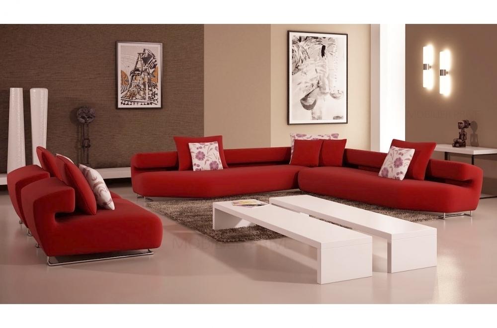 ensemble cuir italien canap dangle et 2 fauteuils parma rouge - Canape Design Luxe Italien