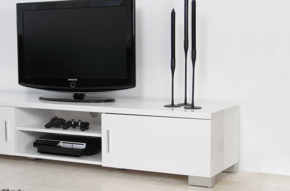 meuble tv design en bois laqu blanc raxon mobilier priv. Black Bedroom Furniture Sets. Home Design Ideas