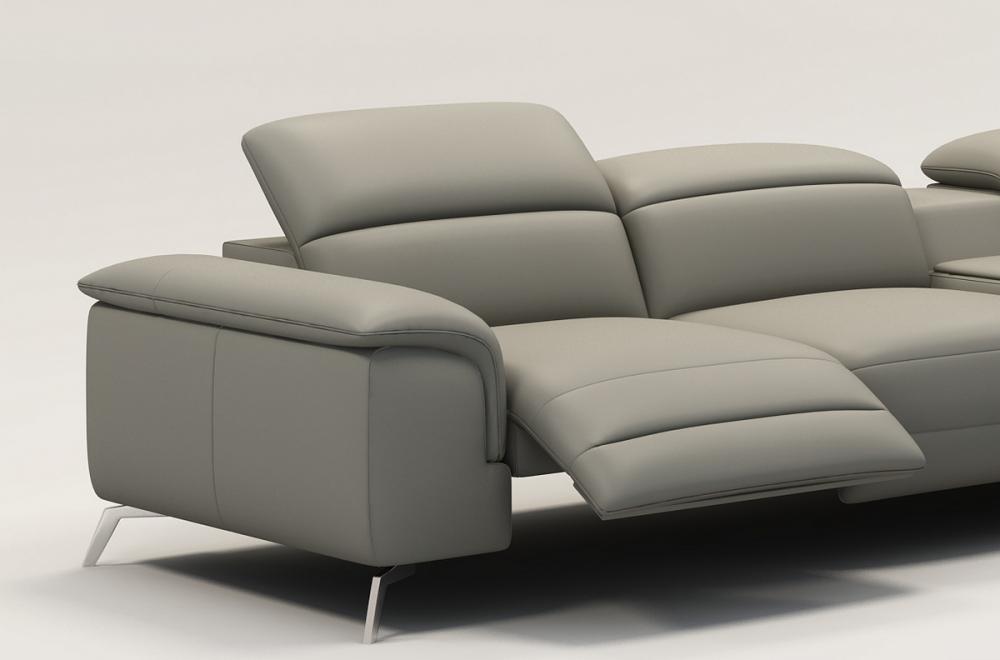 canap d 39 angle en cuir italien 5 places relaxia gris clair mobilier priv. Black Bedroom Furniture Sets. Home Design Ideas