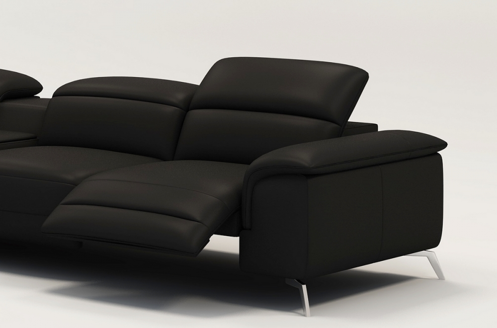 Canap d 39 angle en cuir italien 5 places relaxia noir - Canape d angle italien ...