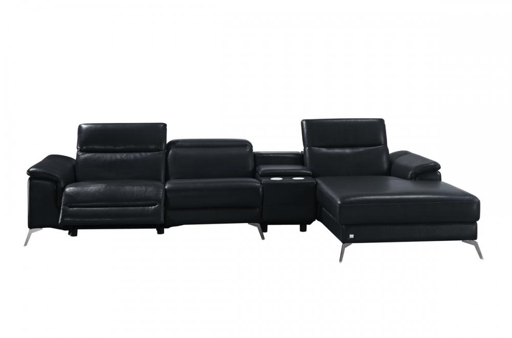 Canap d 39 angle en cuir italien 5 places relaxia noir mobilier priv - Canape angle italien ...