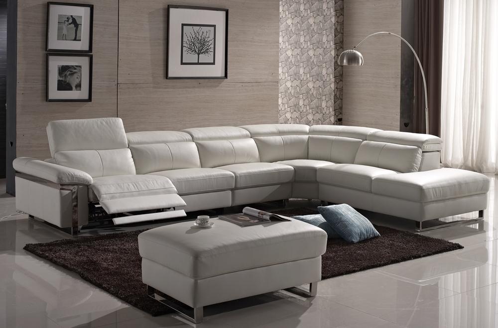 Nouveaux produits 39396 ca32e Canapé d'angle relax en cuir buffle italien, de luxe RELAXINO, blanc, angle  droit
