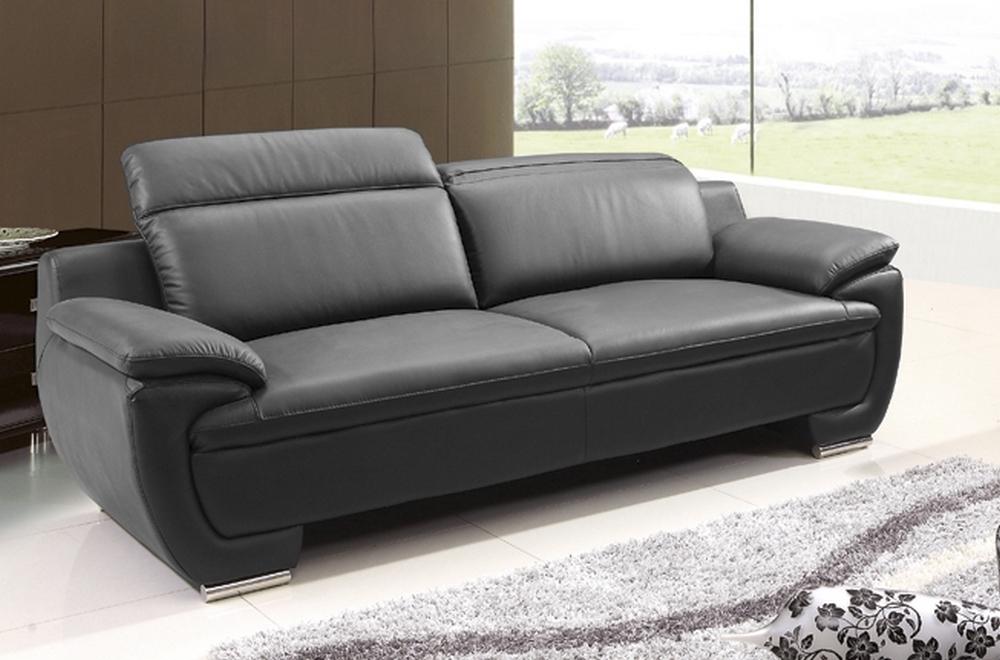 Canapé 3 places en cuir italien rimini noir Mobilier Privé