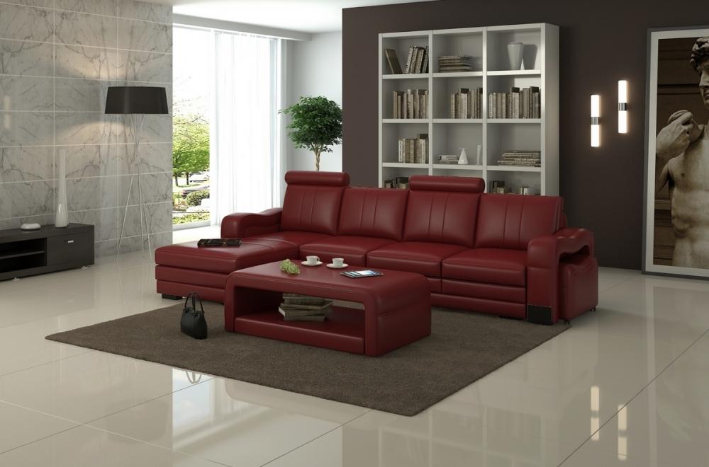 Canap d 39 angle en cuir italien 5 places romana bordeaux mobilier priv - Canape rouge bordeaux ...