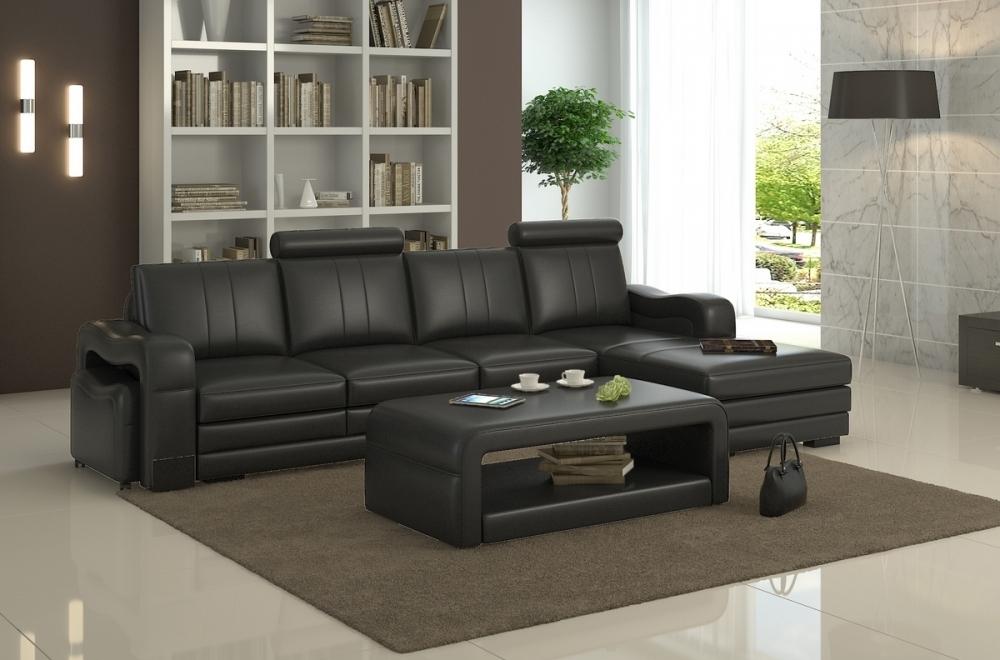 Canapé d'angle en cuir italien 5 places ROMANA, noir